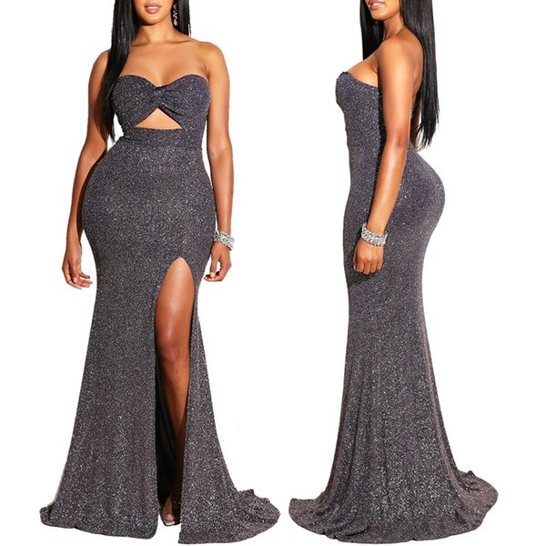 Women New 2019 Night Club Sequins Dress Hollow Out Strapless Cutout High Side Slit Sexy Backless Mermaid Gown Maxi Dresses