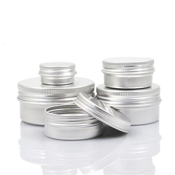 Empty Aluminum Cream Jar Tin Makeup Lip Balm Containers Screw Thread Nail Derocation Crafts Pot Bottle