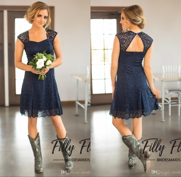 2018 Navy Blue Lace Square A-Line Country Bridesmaid Dresses Sheer Capped Sleeves Short Knee Length Maid of Honor Cheap Bridesmaid Dresses