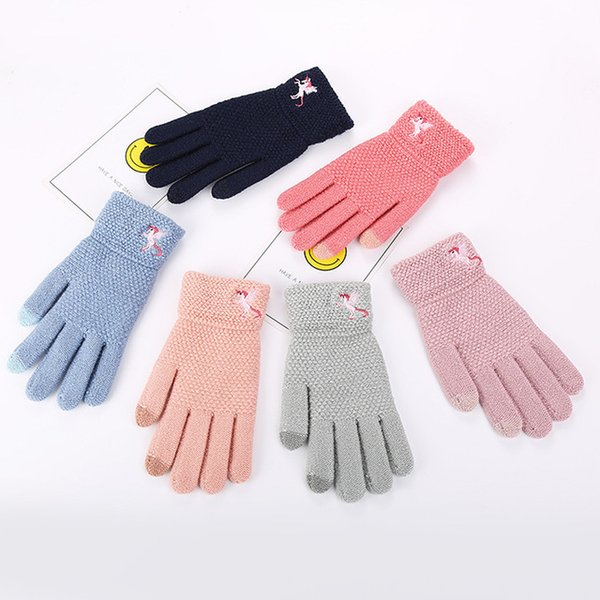 84a83d70b Autumn And Winter Women's Knitted Thermal Gloves Knitted Knitted Winter  Outdoor Touch Screen Gloves Unicorn Embroidered