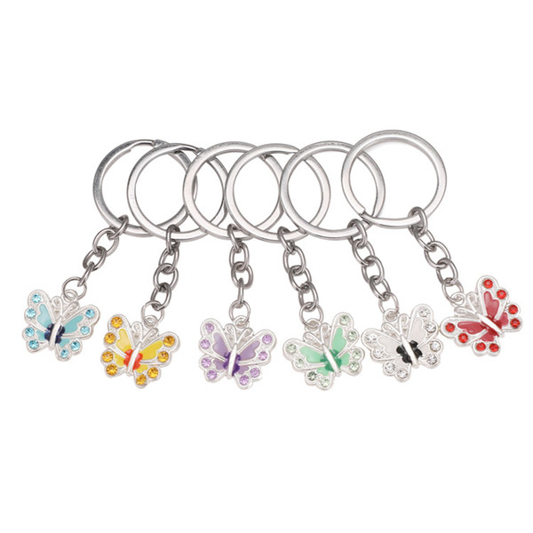 Charm Butterfly Keychains Rhinestones Diamonds Crystal Alloy Bag Car Phone Key Chain Pendant Key rings Decoration Jewelry for women Gifts