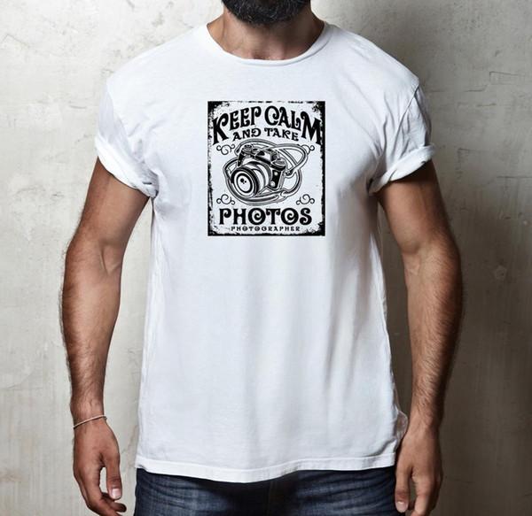 ENGRAÇADO MANTENHA A CALMA E TOME FOTOS FOTOGRAFIA FOTOGRAFIA CÂMERA T-SHIRT TEE TOPO Novo Novo Camisetas Engraçadas Tops T Unisex