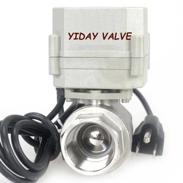 """High quality1"""" DN25 110VAC Stainless Steel Motorized Ball Valve 2 Way/Zone Valve With US Plug(NC CR202 2 Wires Control Electrical Ball Valve"""
