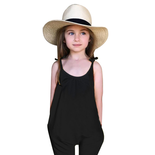 Kids Baby Girls Strap Backless Overalls Rompers Clothing Jumpsuit Harem Pants Trousers Baby Girl Summer Clothes Black