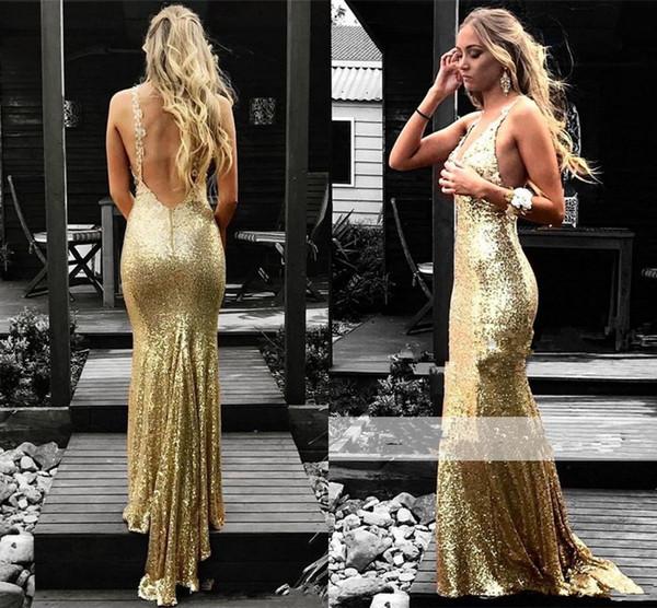 Sexy Gold Sequins Evening Dresses V-Neck Open Back Prom Party Dresses Evening Wear Abendkleider Woemn Formal Dresses Cheap