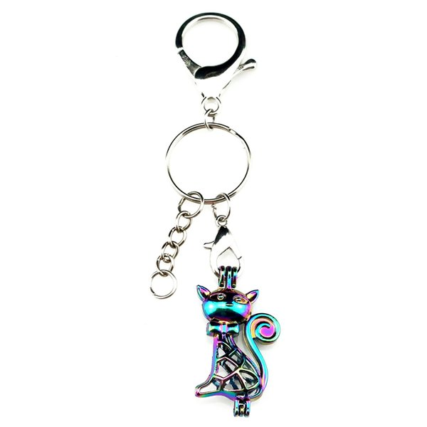 Key Chains Keychain Silver Plated Key Ring Clasp With Cat Beads Cage Locket Y362 Fun Gift