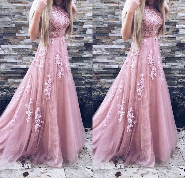 2018 Sexy Blush Pink Jewel A-Line Prom Dresses Lace Appliques Belt Sleeveless Sash Evening Gowns Plus Size Custom Made Vestidos De Festa