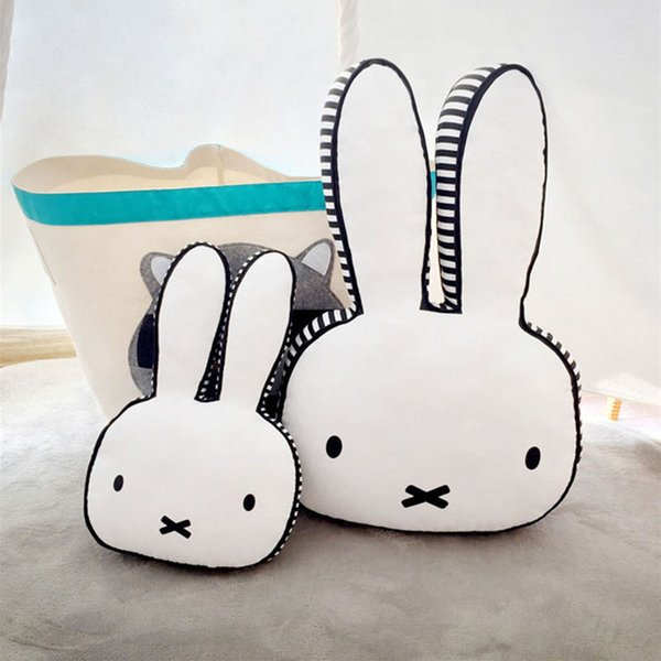 Big Bunny Rabbit head Baby Pillow Newborn kids room Decoration crib bedding pillow cushion Cotton Core Neck girls Gift