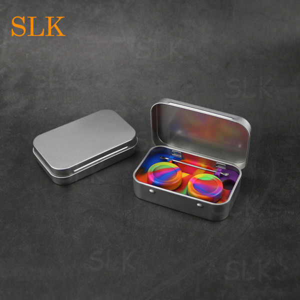 Smoking accessories gift box silicone 4 in 1 wax container stainless steel tin shell dab jar tobacco storage case for smoke shop