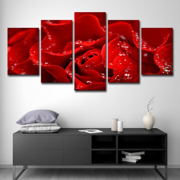 Acheter 5 Pièces Rouge Rose Fleur Mur Art Photo Décoration Moderne Salon Ou  Chambre À Coucher Toile Impression Peinture Mur Photo De $16.41 Du ...