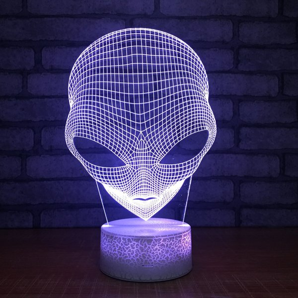 3D Alien Optical Illusion Night Light 7 Color Changing Touch Switch Table Desk Decoration Lamps Perfect Christmas Gift with Acrylic