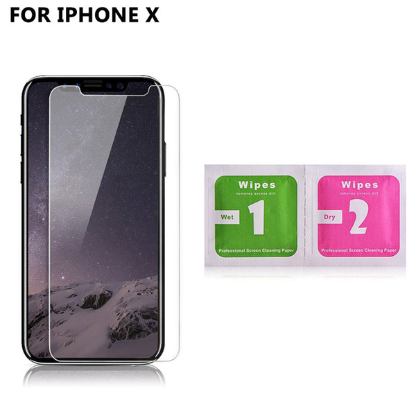 Wholesale 30 pcs 9H Screen Protector for iPhone X Waterproof Tempered Glass with Screen Cleaning Kit Wipes for iPhone 8 7 6 Plus