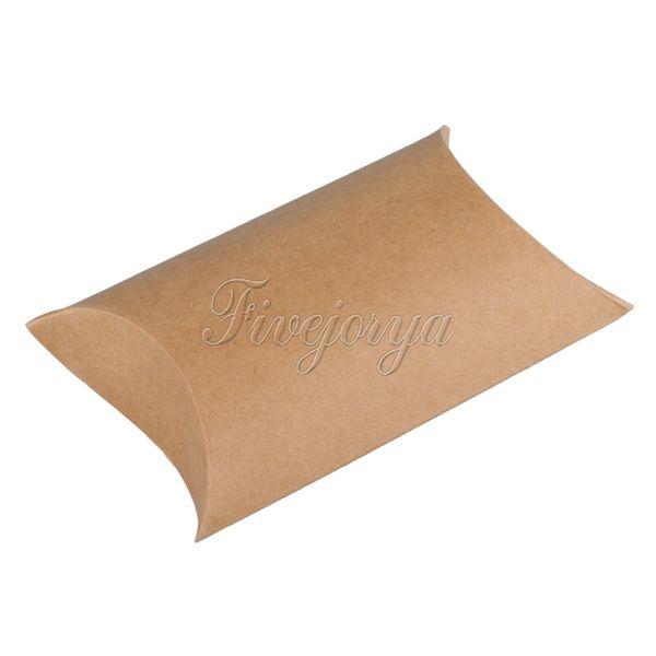100pcs/lot 9cm x 13cm x 3.5cm Boxes Cute Pillow Kraft Paper Gift Box Wedding Party Favor Favour Gift Candy Paper Box Decor