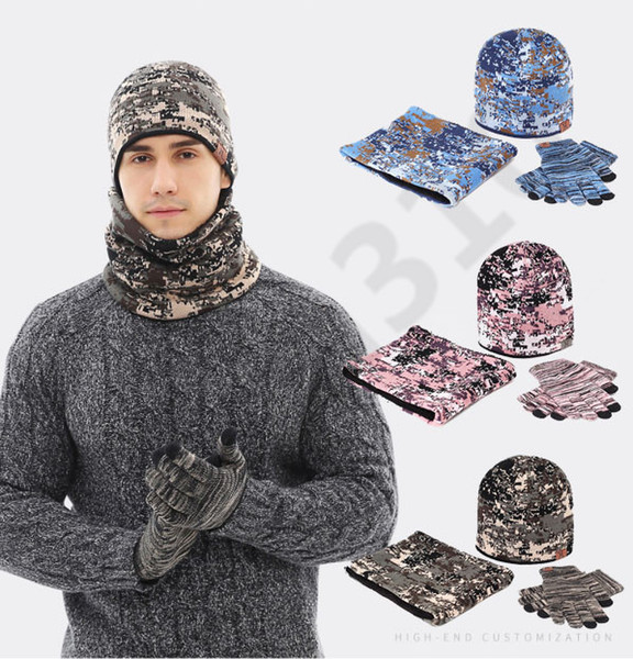 Camouflage Outdoors Beanies Knitting Hat Keep Warm Winter With Glove Fashion Soft Cashmere Wind Proof Cap Scarf set 4pcs/1bag 36bag T1C405