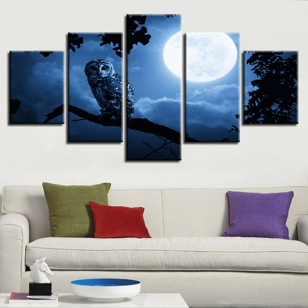 Modern Prints Pictures Bedroom Home Decoration 5 Pieces Moon Animal Owl Night View Canvas Painting Modular Poster Wall Art Framed