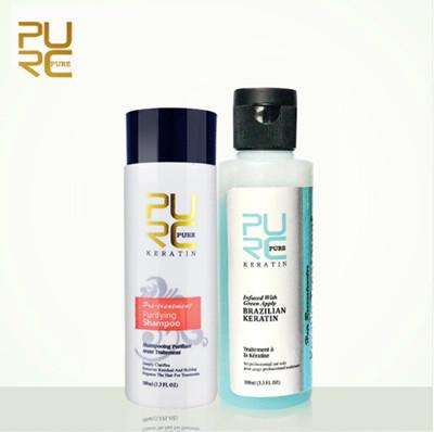PURC 3.7% Apple smell Keratin treatment Straightening hair Repair damage frizzy hair Keratin and Shampoo hair care set