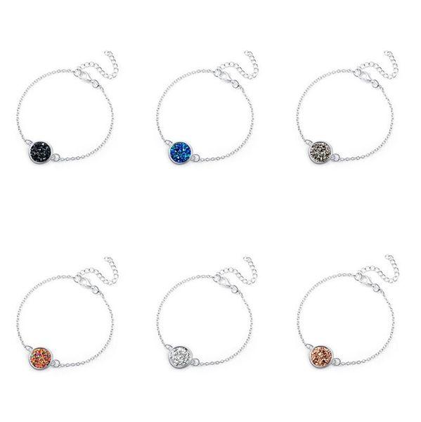Fashion Round Irregular Circle Oval Druzy Drusy Bracelet Silver Plated Crystal Druse Resin Stone Bracelet Women Brand Jewelry Accessories