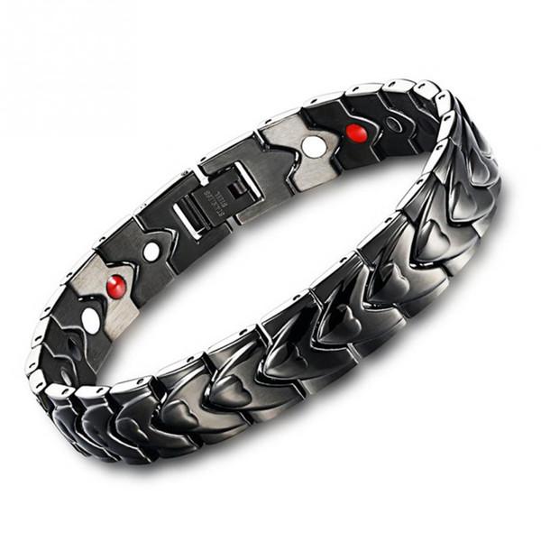 Braccialetto di magnete nero di guarigione di moda Europa per le donne Braccialetti di salute di titanio maschile di cura di potere Promuovere sonno magnetico Pulsera