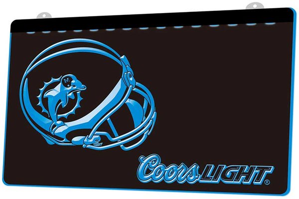 LS893-b-Miami Dolphins Helmet Coors 3D LED Neon Light Sign Decor Free Shipping Dropshipping Wholesale 6 colors to choose