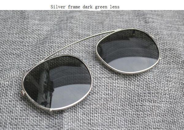 silver frame dark green lens