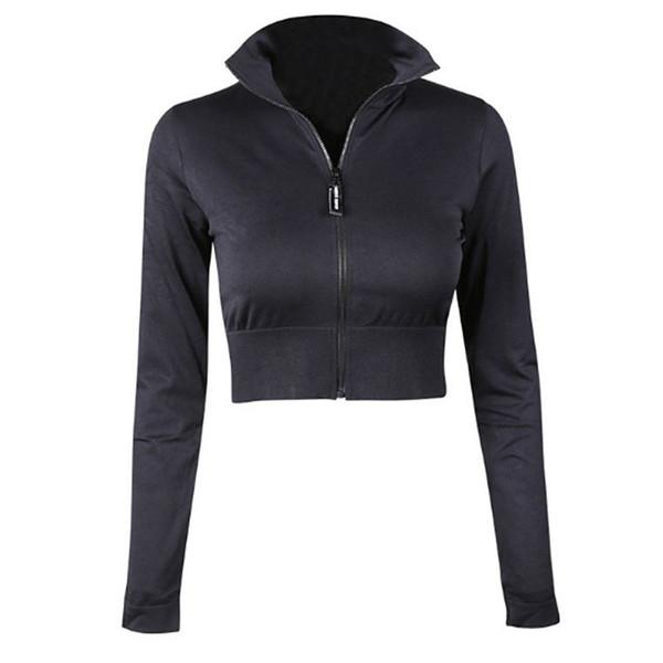 Manteau de chemise de yoga de sport noir de fermeture éclair exposé des femmes avec la course à manches longues faisant des vêtements de fitness à séchage rapide Sweat Sweat FM-013