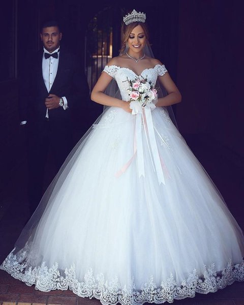 2019 Said Mhamad Off The Shoulder Wedding Dresses Empire Waist Lace Appliques Sweep Train Lace Up Bridal Gown Custom Made Hot Sale