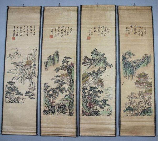 Chinese antique painting scroll of calligraphy and painting Chinese painting scroll screen four, family collection, free deliver