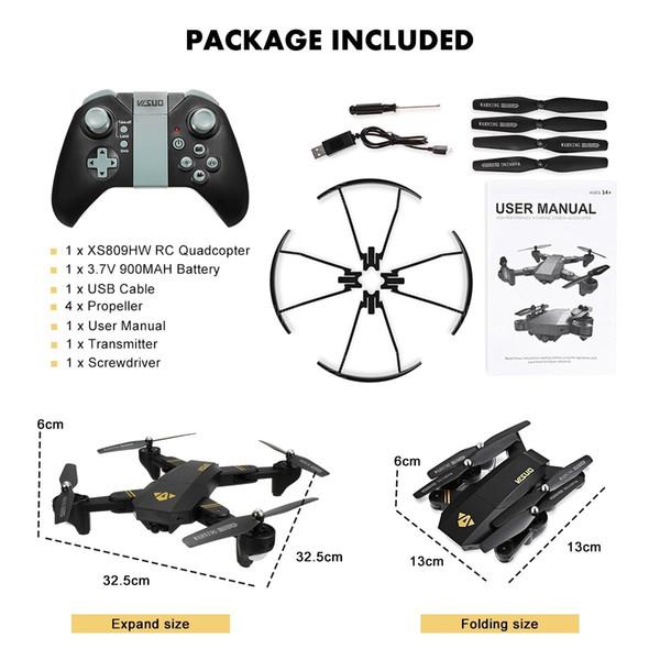 Visuo XS809HW WIFI FPV 2MP ampio Angle Camera HD High Tenere modalità pieghevole Braccio RC Quadcopter Drone bambini i regali dei giocattoli