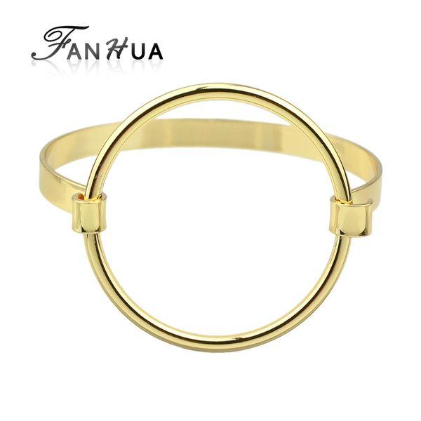 FANHUA New Minimalist Jewelry Punk Rock Concise Bracelets Gold-Color Silver Color Black Circle Geometric Bangles Pulseras