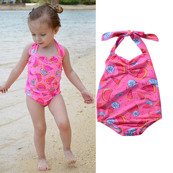 1d920ea54805 2018 Swimsuit Kids Baby Girls Watermelon Bikini Swimwear Bathing Suit Green  Summer Cute One-piece Set Beachwear Summer Boutique Clothing