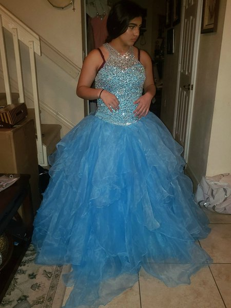 Aqua Quinceanera Dresses Masquerade Ball Gown Beaded Crystal Keyhole Lace-up Back Ruched Organza Halter Long Prom Pageant Dresses for Women