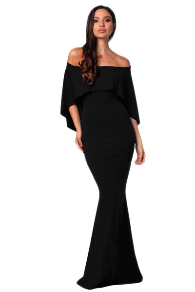 2018 Sexy Long Evening Party Solid Color Dresses Black Off Shoulder Poncho Formal Gown Mermaid Dress Robe Femme Ete Vestido Longo