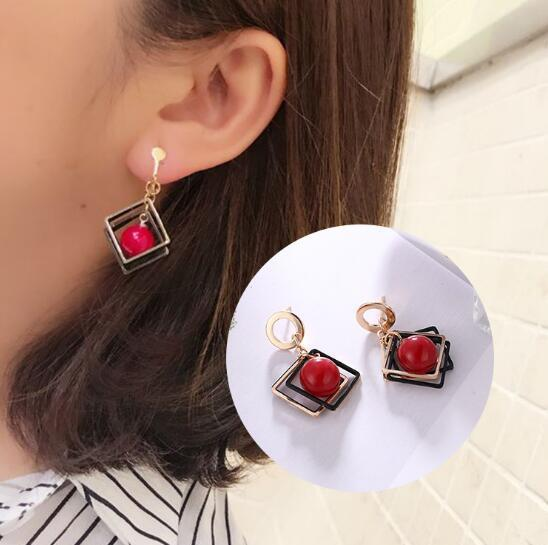 Creative fashion simple and popular high-end temperament earrings geometric square Korean earrings fashion elegant cherry big beads wild ear