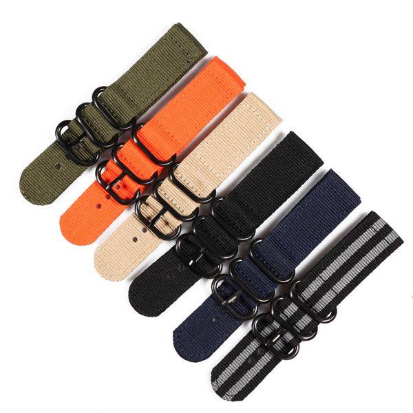 20 22 24mm Solid bracelet Army Green  nato fabric Nylon Watch watchbands Woven Zulu Straps Bands Black Buckle belt