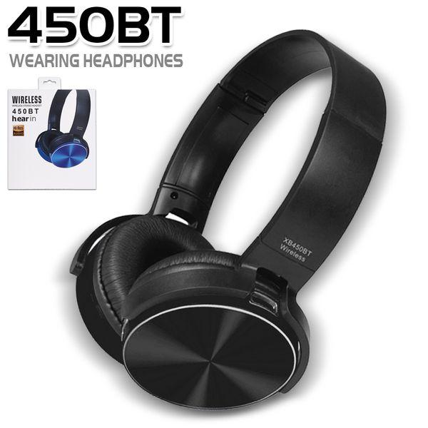 450BT drahtlose Kopfhörer Bluetooth Headset Musik-Player einziehbares Stirnband Surround Stereo-Kopfhörer mit Mikrofon für PC Smartphone MP3 in Box