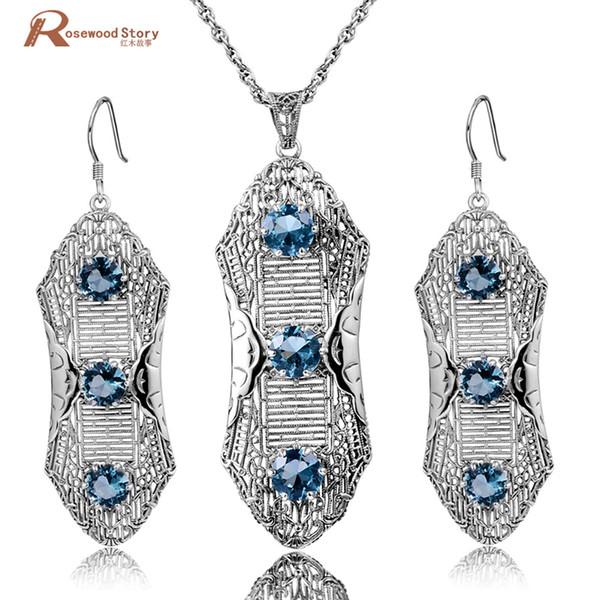 Güzel Takı Setleri Yuvarlak Kolye Vintage Küpe Kadınlar Için Katı 925 Ayar Gümüş Set Düzenlendi Topaz Mavi Rhinestone Kristal
