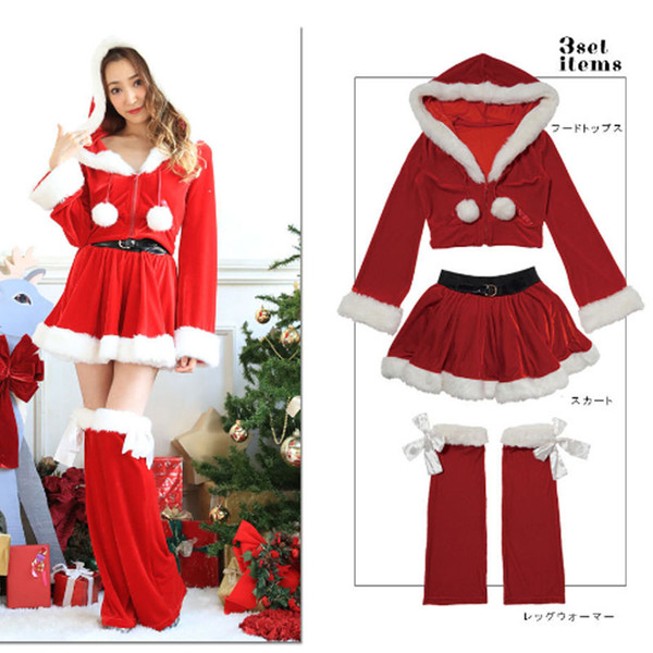 3 Pcs Sexy Santa Costumes Christmas Dress Cosplay For Woman Fancy Dress Costume Adult Santa Claus Xmas Tops Hooded Suit