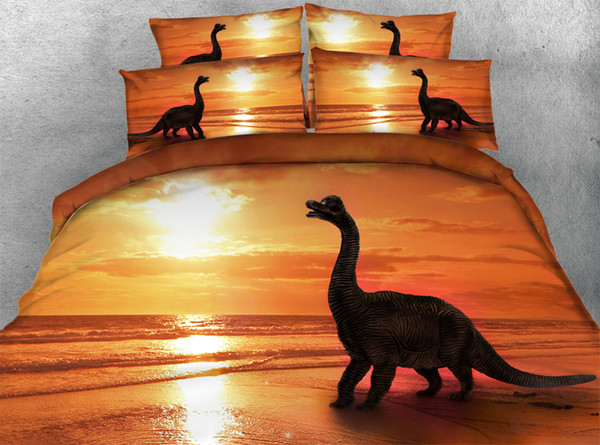3pcs luxury golden ocean duvet cover set all kinds dolphin / dinosaur / mermaid ship bedding sets Single Queen Super king size