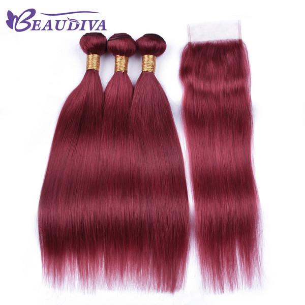 Beau Diva Colored Burgundy Dark Red Human Hair Bundles With Closure Brazilian Straight Hair Bundles With Closure Virgin Hair With Closure