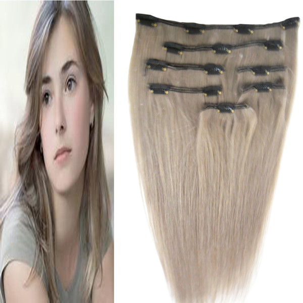 Straight clip in extension 7pcs/Set gray hair extensions clip in human hair extensions