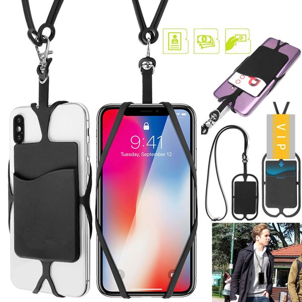 Universal Cell Phone Strap Silicone Credit ID Card Holder Wallet Lanyard Necklace Case Wrist Straps