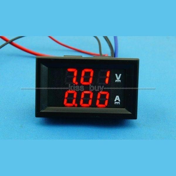 Freeshipping DC 100V/200A Dual display Ammeter Voltmeter Digital Amp Volt Meter 12V 24V red +red led Volt amp meter