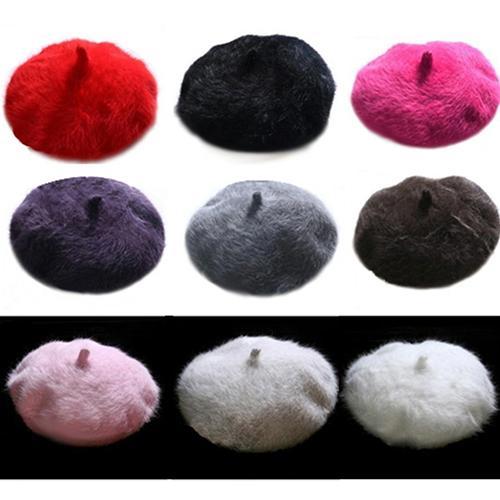 Moda Donna Dolce Caldo Faux Rabbit Fur Beret Artist Baggy Beanie Winter Hat Y18102210