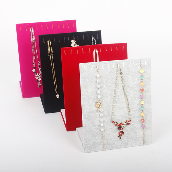 TONVIC Wholesale 2 Velvet Necklace Bracelet Display Stand Board Jewelry Holder Rack For 11 Pcs