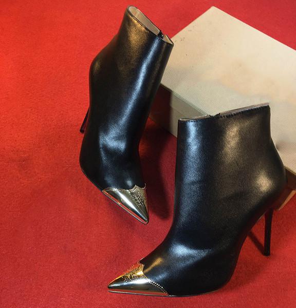 femmes bottes rivet chaussures habillées en peau de mouton noir en cuir verni pointé femmes pompes 11 et 12cm mode talons hauts chaussures pour dame chaussure de mariage