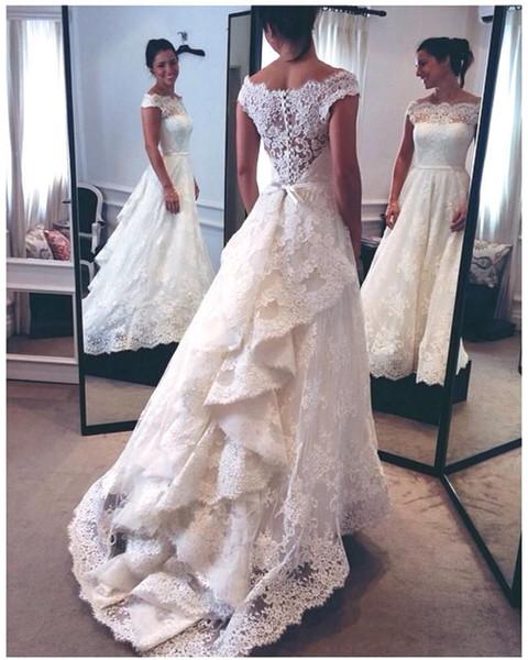 Solove платье 2018 новый линия элегантный кружева свадебное платье Bateau Cap рукава развертки поезд свадебные платья