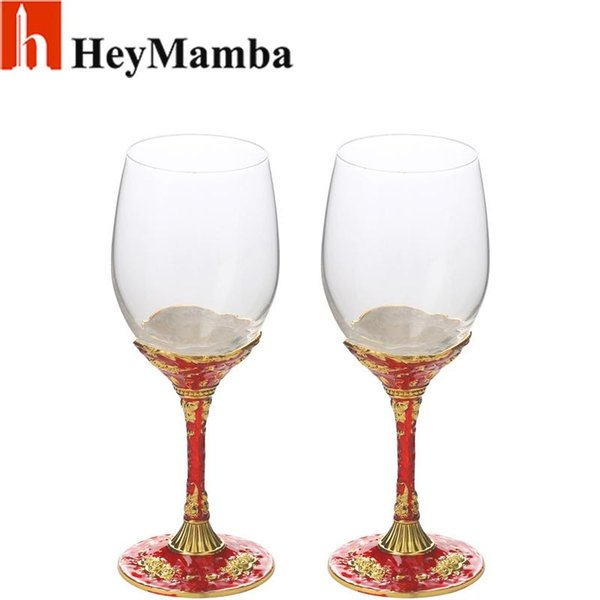 HeyMamba Crystal Glass Wine Cup Gold Plated Wine Glasses Bordeaux Goblet Wedding Party Red Rose Metal Wineglass