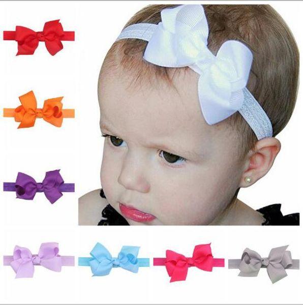 100PCS Purple Girls Baby Infant Elastic Hairband Flower Headband Hair Bows