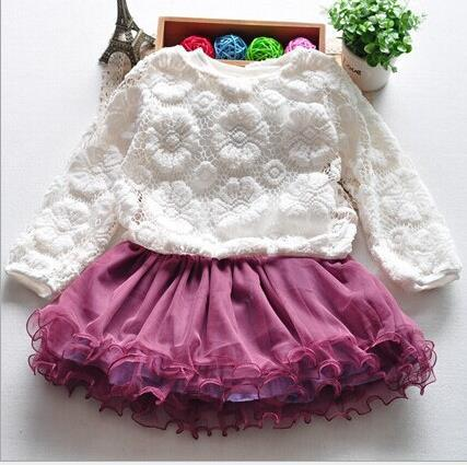 2016 summer Baby Girl clothes sets lace baby set cake Dress kids Set Vestido mesh Newborn Girl Clothes 2pc toddler