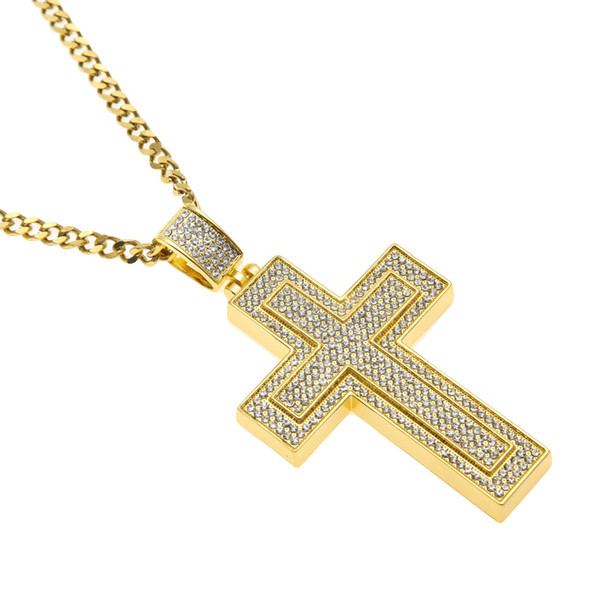 Hip Hop Choker Double-Layers Cross Pendant Sliver Gold Chain for Mens Iced Out Chain Bling Cuban Links Necklaces